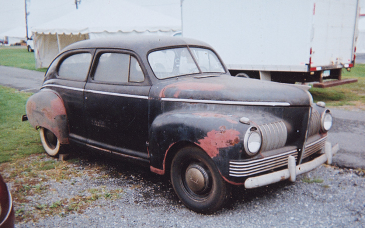 This original 1941 Nash 600 Slipstream two-door sedan was displayed in the swap meet with an $8,000 asking price. Window signage claimed the car was parked for 46 years after amassing 64,000 miles.