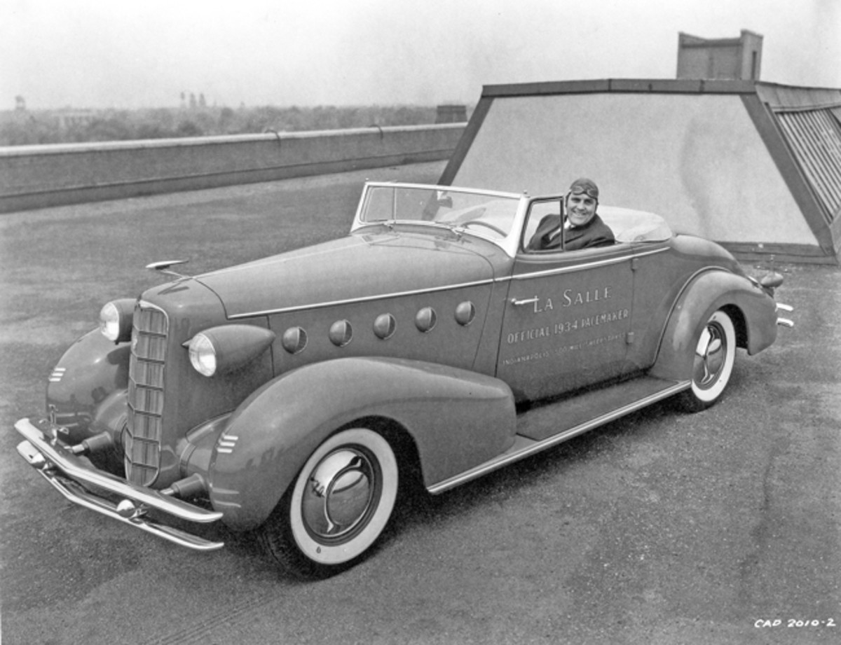 A LaSalle convertible coupe was chosen by Indianapolis 500 officials to be the pace car for the 1934 race. This was the second appearance for LaSalle as a pace car for the prestigious race; the first was 1927. The rakish design, the work of stylist Jules Agramonte, no doubt contributed to the Indy officials' choice. Its eight-cylinder engine was certainly another factor. (GM Media Archive)