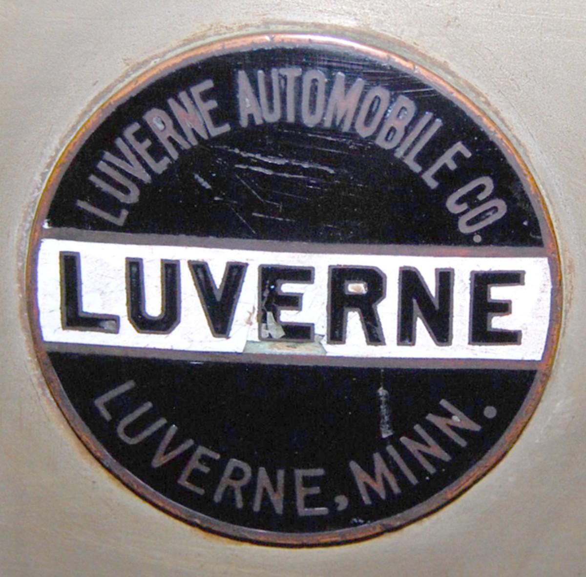 Radiator badge from John Kelsey's Big Brown Luverne Six touring car.