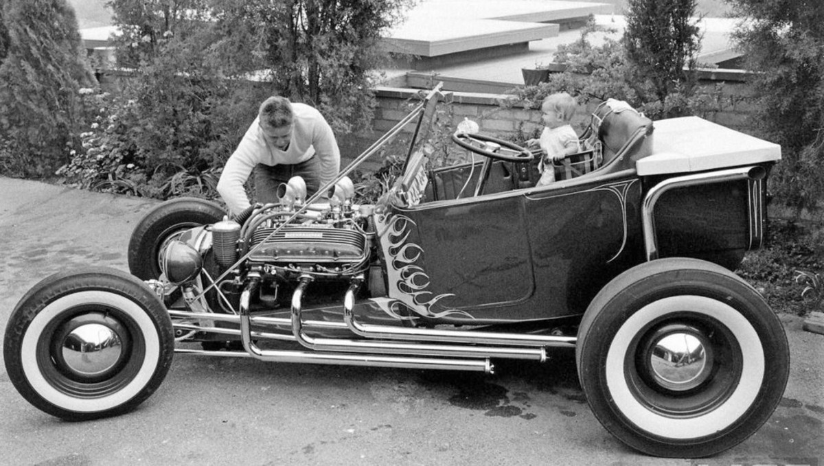"In 1957, Norm Grabowski and his Ford T-bucket hot rod were featured in a story about rodding in ""Life"" magazine."