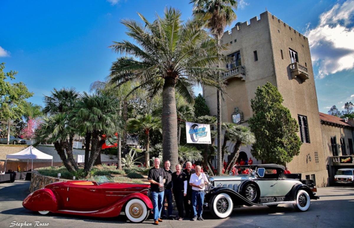Mulholland Speedster Owner Bruce Wanta, Mulholland Speedster Builder Troy Ladd, Show Producer Nicole Meguiar, Meguiar's President Barry Meguiar, 1930 Cadillac 452 V-16 owner Fred Lax