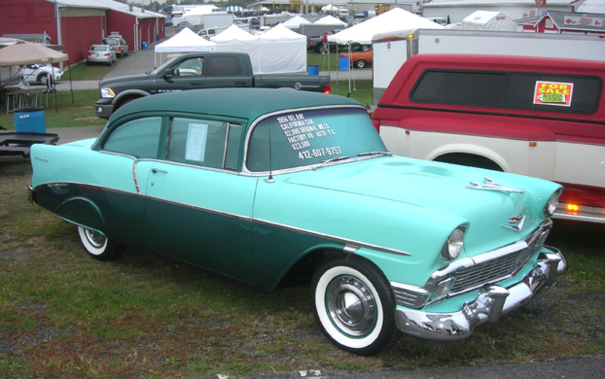"The car corral featured several ""California cars"" including this 52,000-mile 1956 Chevrolet Del Ray two-door sedan."