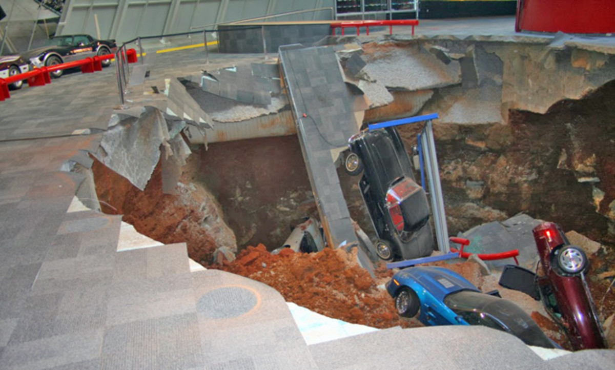 On Feb. 12, a sinkhole collapsed within the National Corvette Museum in Kentucky. Museum spokeswoman Katie Frassinelli said six of the cars were owned by the museum and two were on loan from General Motors.