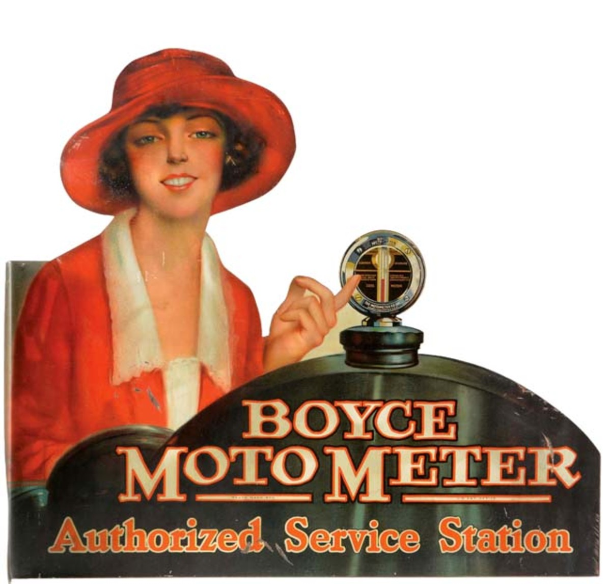 Boyce Moto Meter Authorized Service Station tin flange sign with image of young woman in Art Deco attire, lithographed sides in condition 8.75+ and 8.5, respectively. Estimate: $15,000-$25,000. Photo - Morphy Auctions