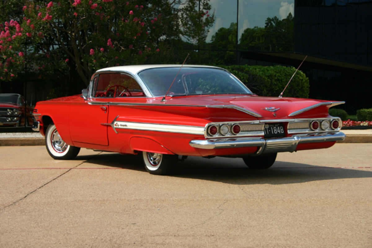 For 1960, Chevy stylists made a number of changes to the sheet metal including crisper, flattened fins.