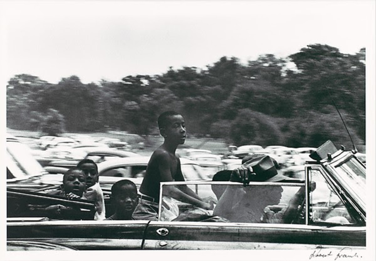 Robert Frank (American, born Switzerland, 1924), Belle Isle, Detroit, from The Americans. Gelatin-silver print, 1955. 8 3/4 x 12 5/8 in. (22.2 x 32.1 cm). The Museum of Fine Arts, Houston, The Target Collection of American Photography, museum purchase funded by Target Stores, 83.110. © Robert Frank; Courtesy of Pace / MacGill Gallery, New York