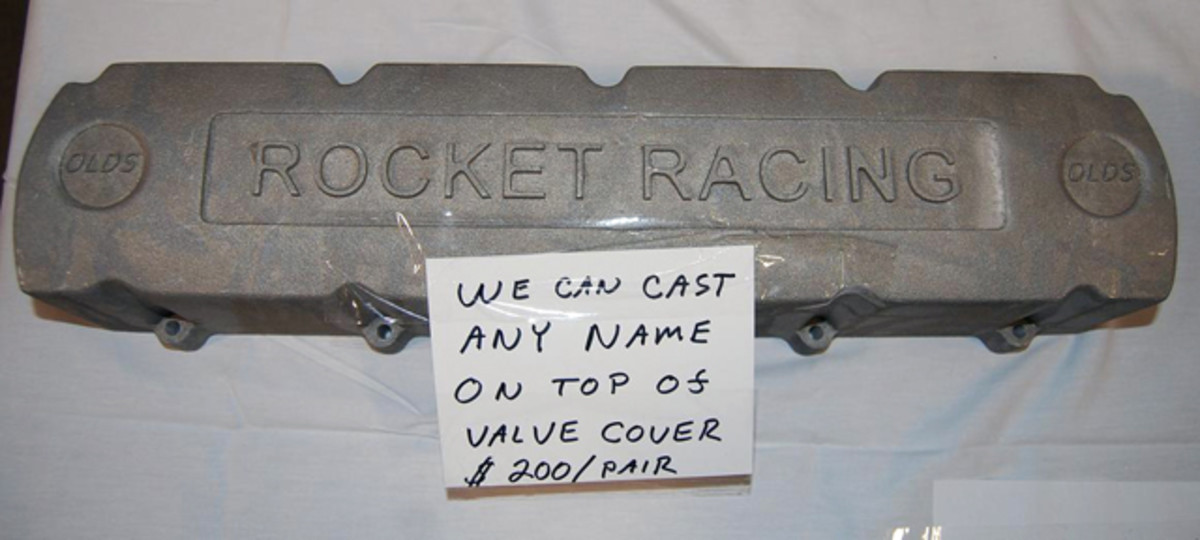 """Olds """"Rocket Racing"""" valve covers were $200 a pair."""