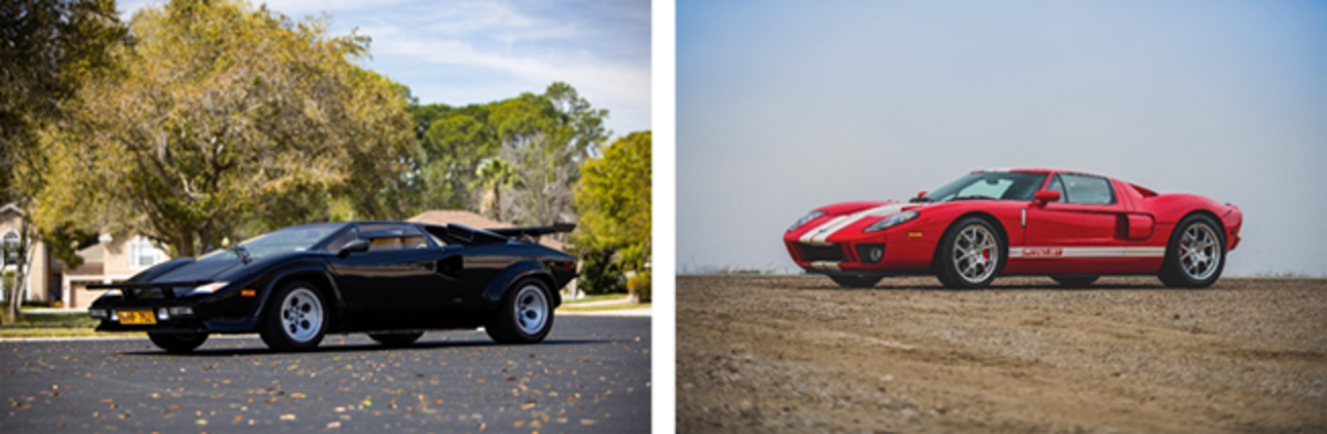 LEFT: 1983 Lamborghini Countach LP 5000S by Bertone (Ravi Angard © 2020 Courtesy of RM Sotheby's) RIGHT: 2006 Ford GT (Darin Schnabel ©2020 Courtesy of RM Sotheby's)