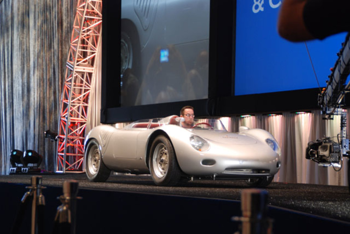 Taking the high sale at Gooding's Saturday session was this sleek 1959 Porsche RSK racing roadster, called sold with a bid of $2,850,000.
