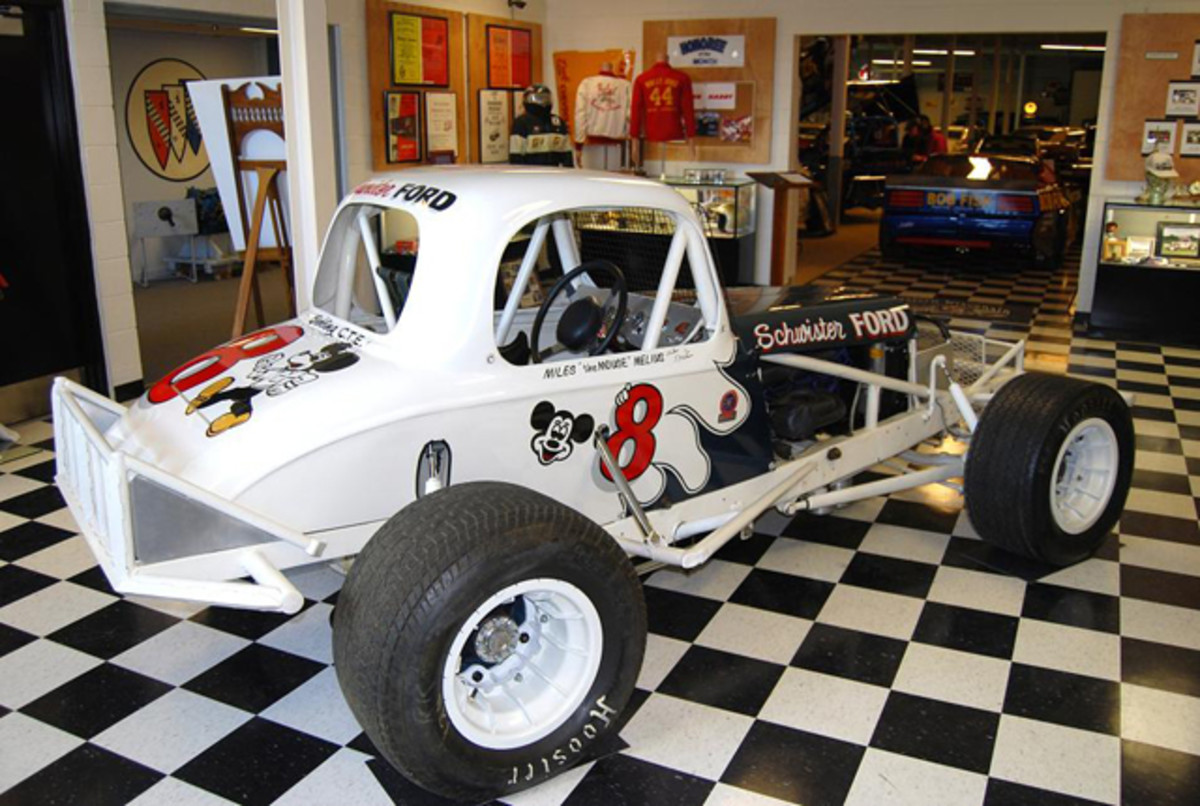 """Miles """"The Mouse"""" Melius' No. 8 short track racing car at the Hall of Fame."""