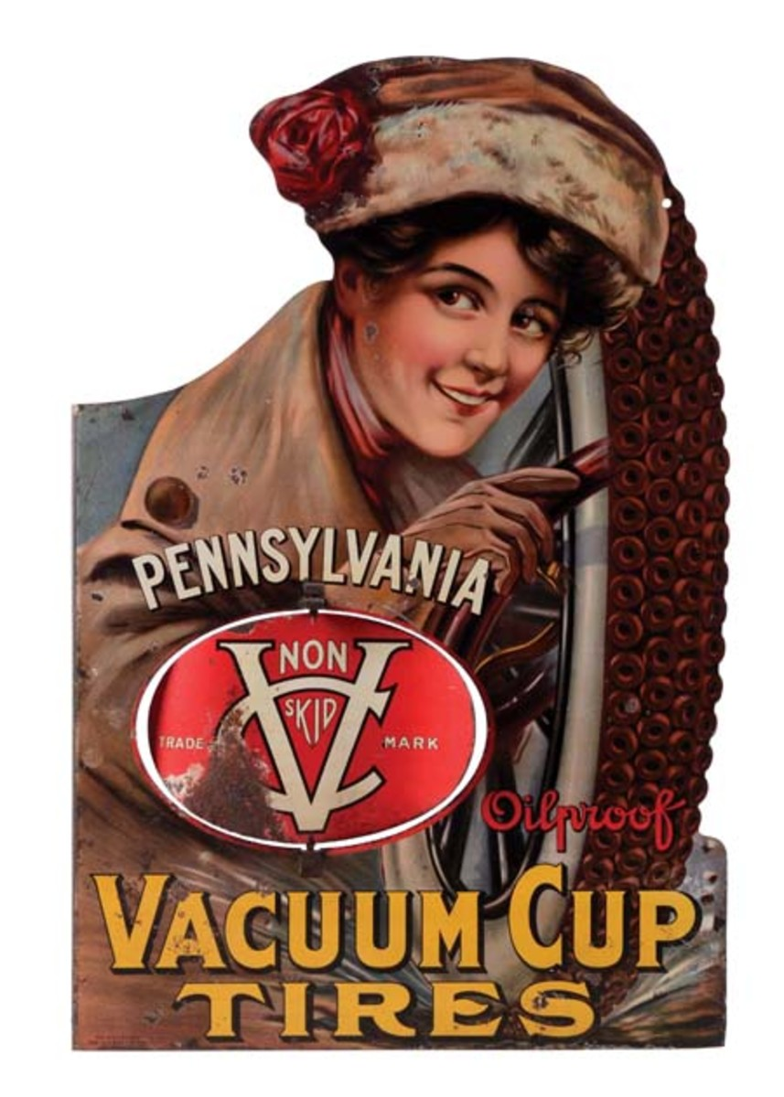 """Pennsylvania Oilproof Vacuum Cup Tires double-sided die-cut tin flange sign with image of well-dressed woman, patent date 1907, marked 'The H.D. Beach Co."""" Estimate: $15,000-$25,000.Photo - Morphy Auctions"""