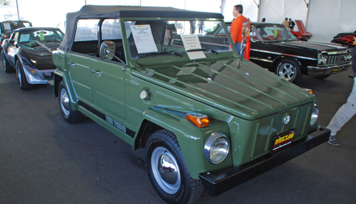 """Unusual rides abound in Kissimmee, like this really sharp 1974 Volkswagen Type 181 """"Thing"""" finished in Avocado Green."""