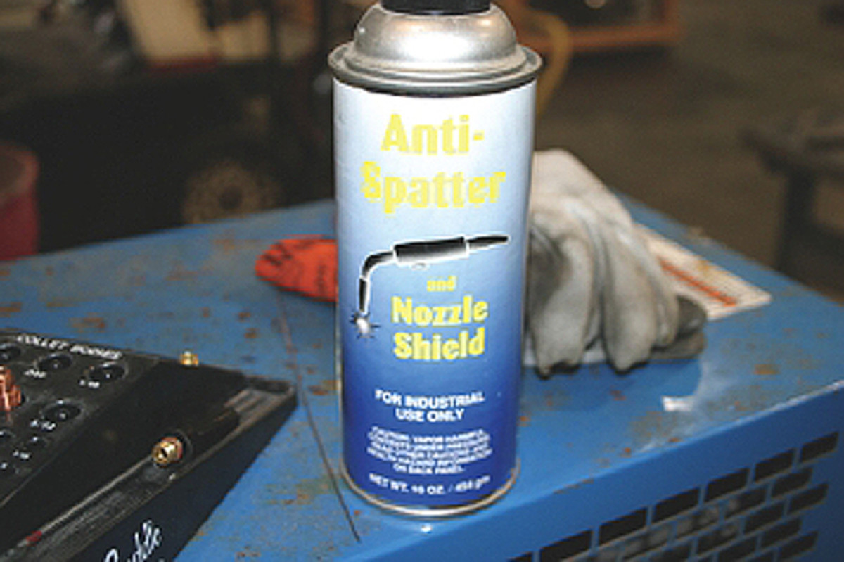 Anti Spatter can help eliminate that weld splatter and keep material from sticking to the area that surrounds the weld, including the welding table. Most welding shops sell it in 16-oz. cans.