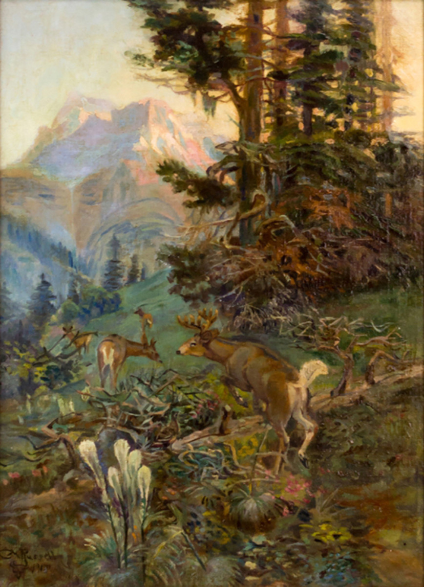 "J. Levine's September auction also will include fine estate collectibles from other consignors, including an original Charles M. Russell oil painting, ""Montana's Majesty,"" that belonged to Steve Rose, former owner of Biltmore Gallery. The three-day auction begins on Thurs., Sept. 29 in Scottsdale, Arizona. www.jlevines.com (PRNewsFoto/J. Levine Auction & Appraisal)"