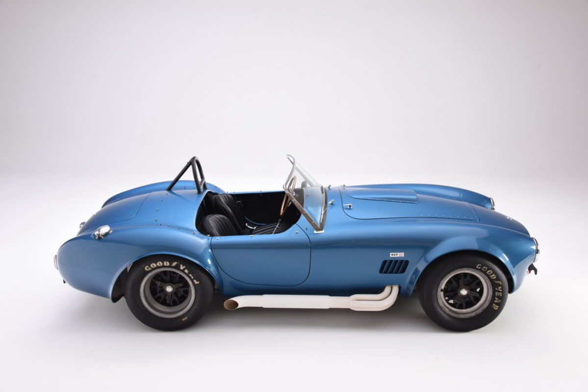 A 1965 Shelby 427 Cobra that is part of the Newport Car Museum's collection.