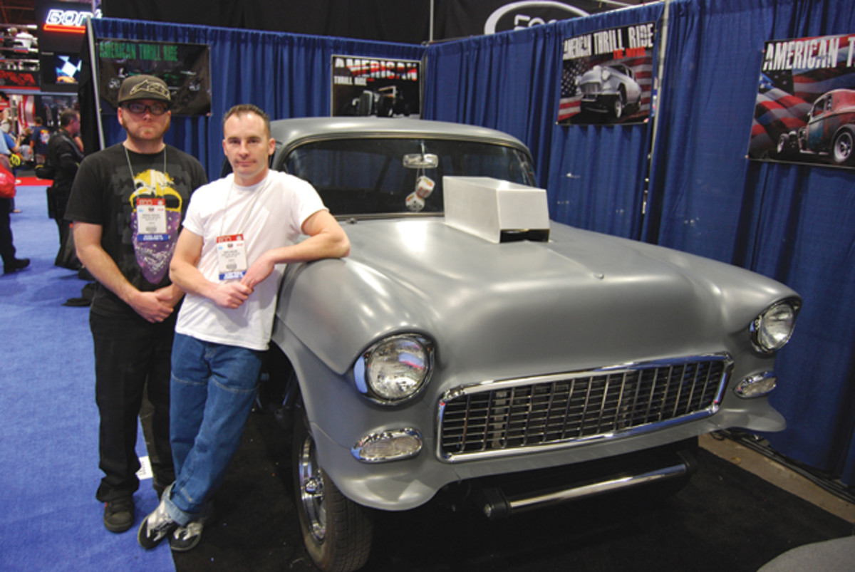 """These two young gents from Oregon were pushing their """"American Thrill Ride"""" movie (www.atrmovie.com), which they star in along with their ��55 Chevy."""
