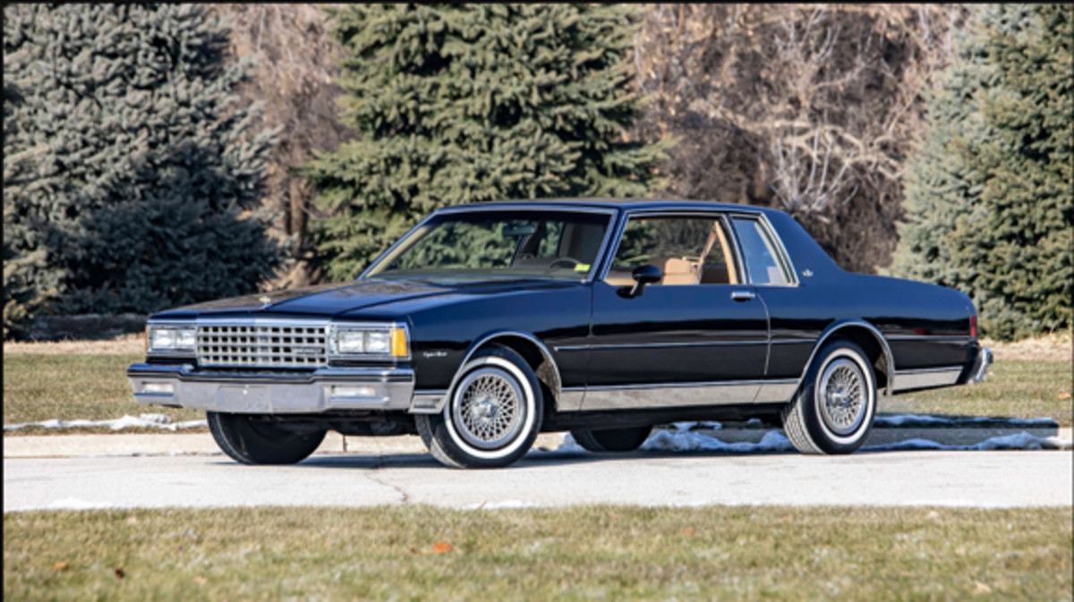 The 1982 Caprice Sport Coupe with beige interior on offer at the 2019 Mecum Auctions Kissimmee sale. All are well-optioned, and this 14,000-mile example adds cornering lamps and the Chevrolet wheel covers styled to appear as alloy wheels. Mecum Auctions photo