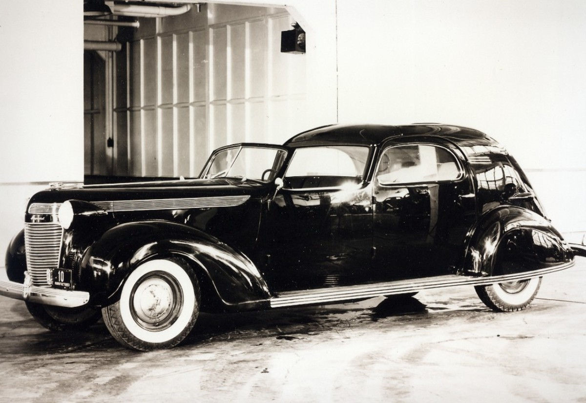 Above and below: The Chryslers' 1937 LeBaron-bodied town car as seen inside the factory when new. Note the trim piece at the bottom edge of the car nearly circles the entire car and its ribbing matches that on the production Chrysler bumpers.