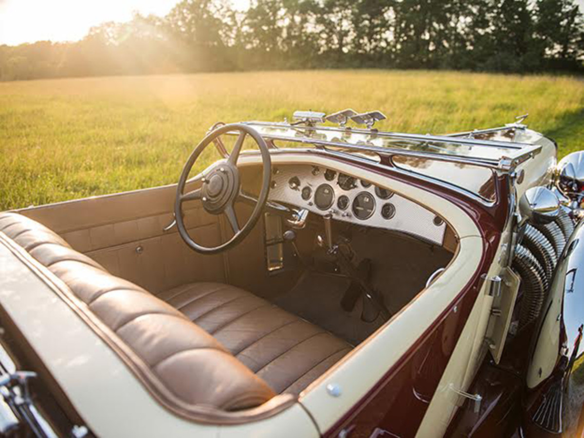 A look at the unique interior of the 1933 Duesenberg Model SJ 'Sweep Panel' Phaeton by LaGrande, the star of Auctions America's upcoming Auburn Fall Collector Car Weekend (credit – Darin Schnabel © 2017 Courtesy of Auctions America)