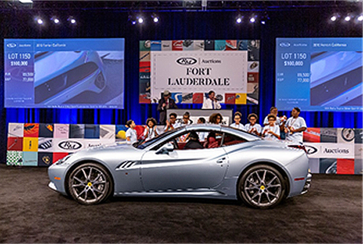 2010 Ferrari California, sold with a portion of proceeds to benefit The Boys & Girls Club of Broward County (Andrew Miterko © 2019 Courtesy of RM Auctions)