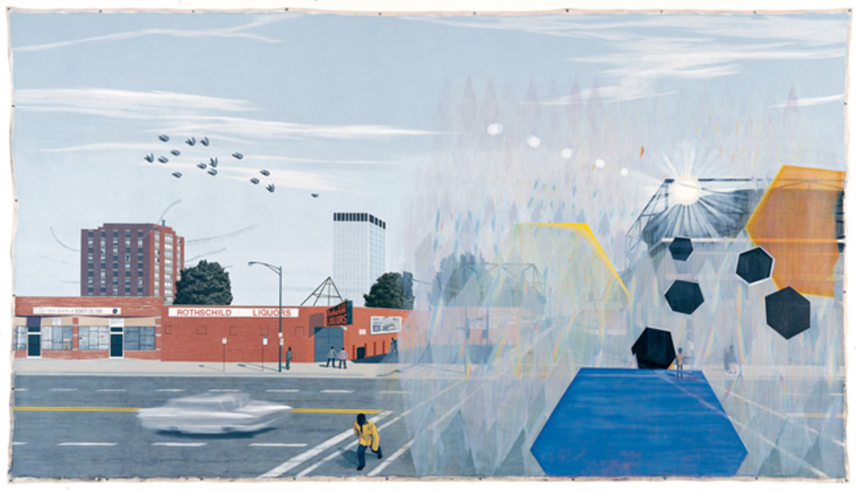 Kerry James Marshall (American, born 1955), 7am Sunday Morning. Acrylic on canvas banner, 2003. 120 x 216 in. (304.8 x 548.6 cm). Museum of Contemporary Art Chicago, Joseph and Jory Shapiro Fund by exchange, 2003.16. © Kerry James Marshall. Courtesy of the artist and Jack Shainman Gallery, New York.
