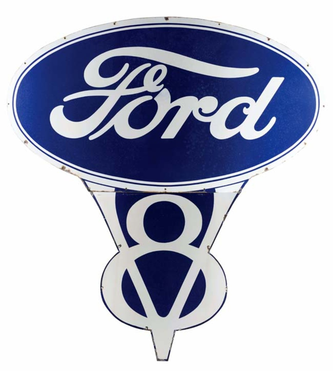 Massive Ford V8 porcelain dealership sign, 75½ inches by 40½ inches, 8.75+ condition. Estimate: $15,000-$25,000.Photo - Morphy Auctions