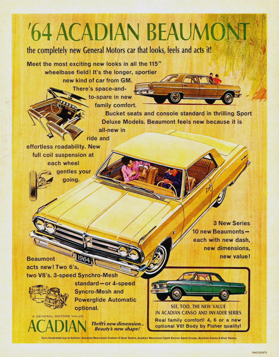 Canadian holiday car shoppers could test drive a new 1964 Acadian Beaumont, which was akin to a Chevrolet Chevelle.