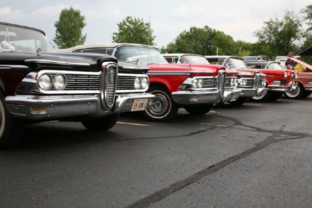 A line of 1959 Edsel automobiles.