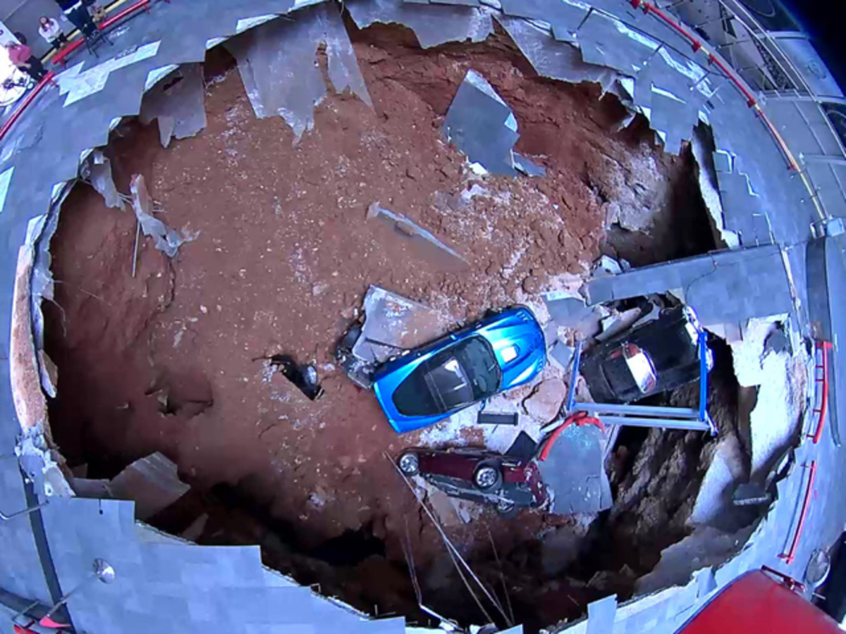 Bird's eye view of the sinkhole inside the National Corvette Museum.