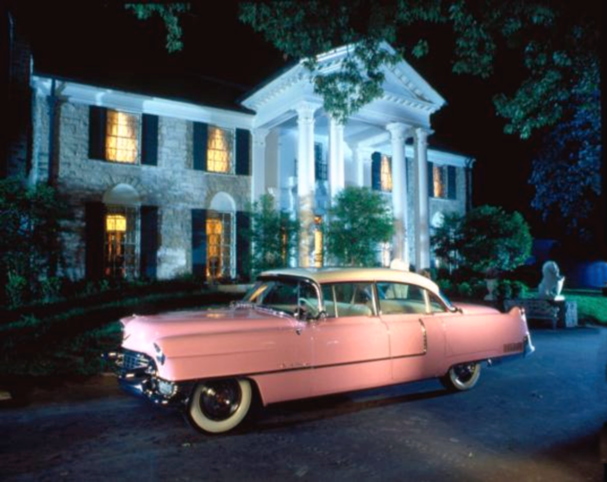 Elvis Presley's pink-and-white 1955 Cadillac, pictured in front of Graceland, will be on display at the April 2-5 Pennzoil AutoFair at Charlotte Motor Speedway. One of the world's most iconic cars and a symbol of rock 'n' roll's birth, the Cadillac will make its second appearance outside of Memphis, Tennessee, since Presley's Graceland museum opened in 1982. (Courtesy of Elvis Presley Enterprises)