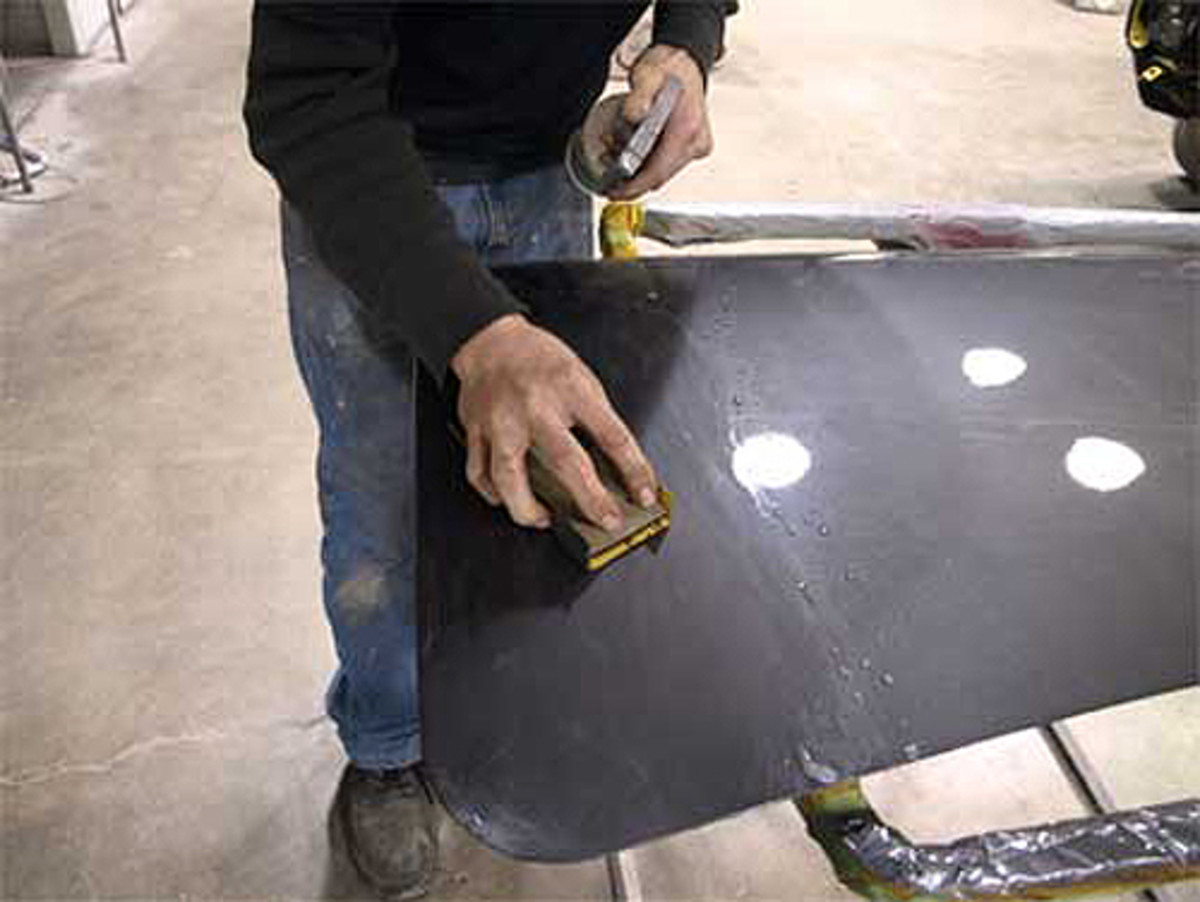 Wet sanding is the last step before buffing. Start with 1,000-grit paper and graduate to 2,000 for final wet sanding.