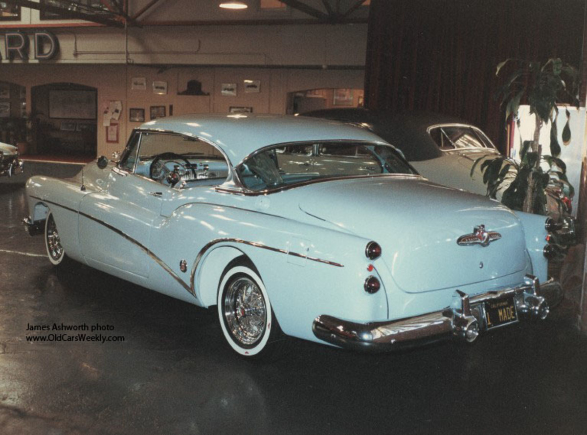 A ca.-1990 rear view of the 1953 Buick Skylark hardtop after James Ashworth restored it.