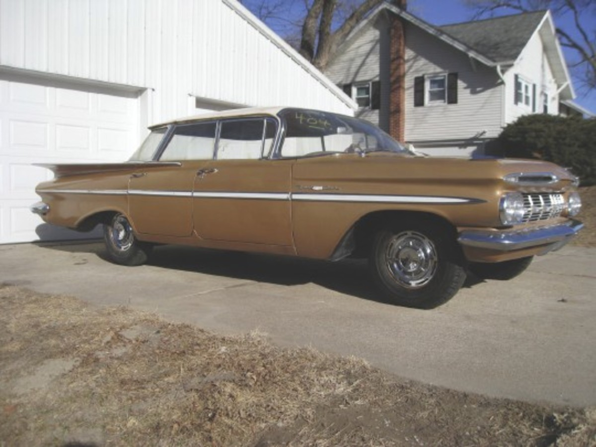 An after shot of Myron Smith's1959 Chevrolet Bel Air Sport Sedan (four-door hardtop).