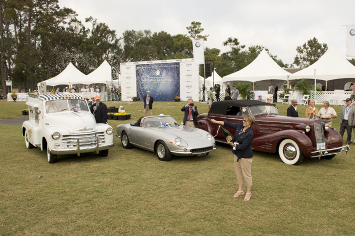 """""""People's Choice Winner"""" 1953 Chevrolet 3100 Good Humor Ice Cream Truck, """"Paul Doerring Founders Award""""1967Ferrari275 GTS/4 NART Spyder, """"Best of Show"""" 1934 Cadillac Victoria Convertible Coupe"""