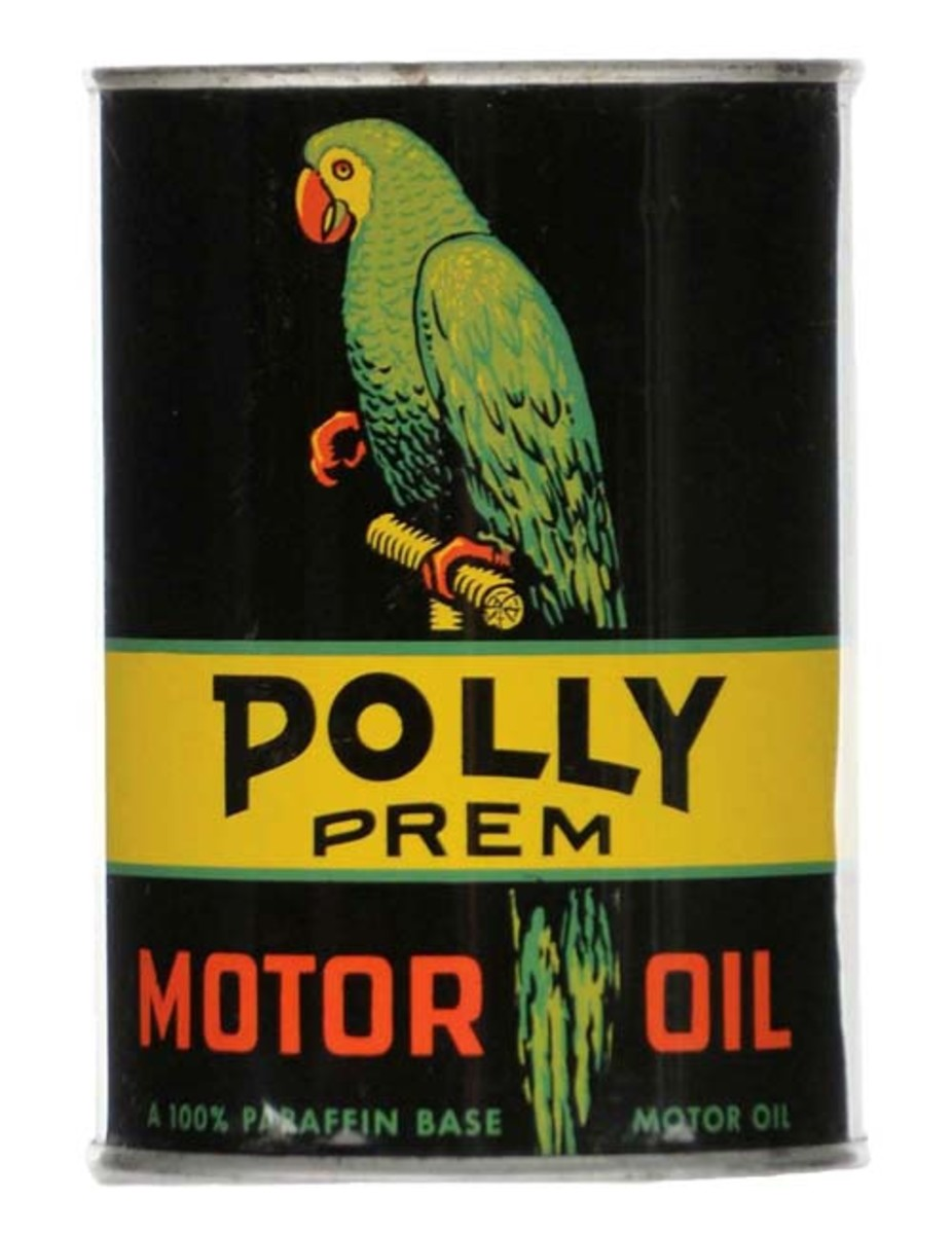 Polly Premium Motor Oil one-quart can, excellent color and gloss, 8.9+ condition. Estimate: $2,500-$4,500. Photo - Morphy Auctions