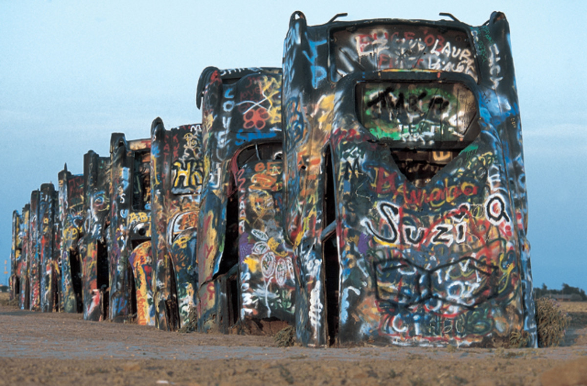 Thousands of graffiti artists have added their marks to the Cadillac Ranch cars, which were first planted in the Texas earth in 1974.