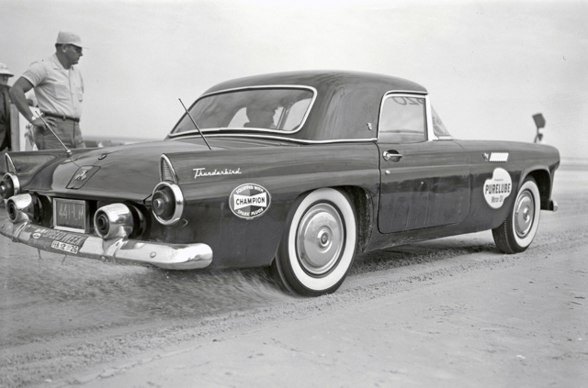 Ford went after Chevrolet's Corvette in 1955 with the two-seat Thunderbird, which wrapped a more conventional steel body around an overhead-valve V-8 engine.