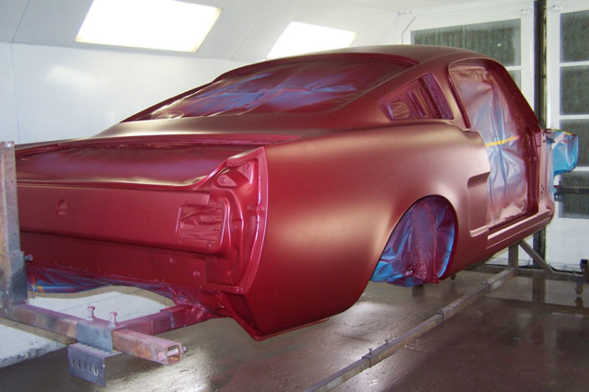 The base coat has a dull appearance before it is covered with clear.