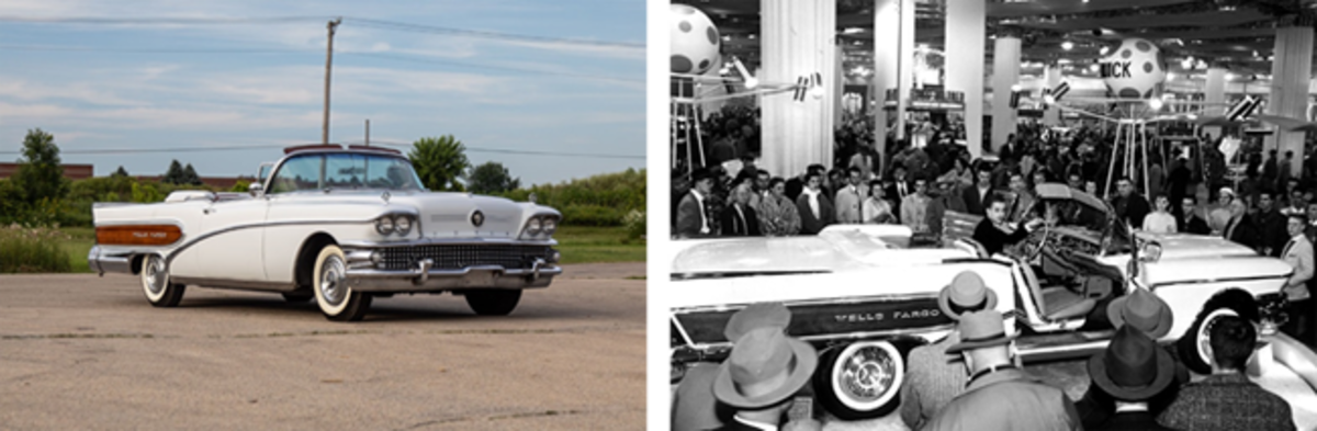 """LEFT: The 1958 Buick """"Wells Fargo"""" Convertible offered from the Duffy Grove Collection at Auburn Fall (Credit – © 2018 Courtesy of RM Auctions)RIGHT: The Buick """"Wells Fargo"""" Convertible at the 1958 Chicago Auto Show (Credit – Courtesy of the owner)"""