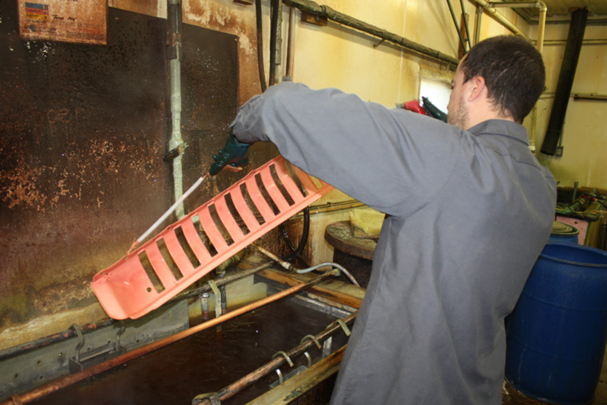 "A thin base ""copper strike"" layer is applied to a part to serve as a sort of primer for the thicker copper and chrome layers that will follow."