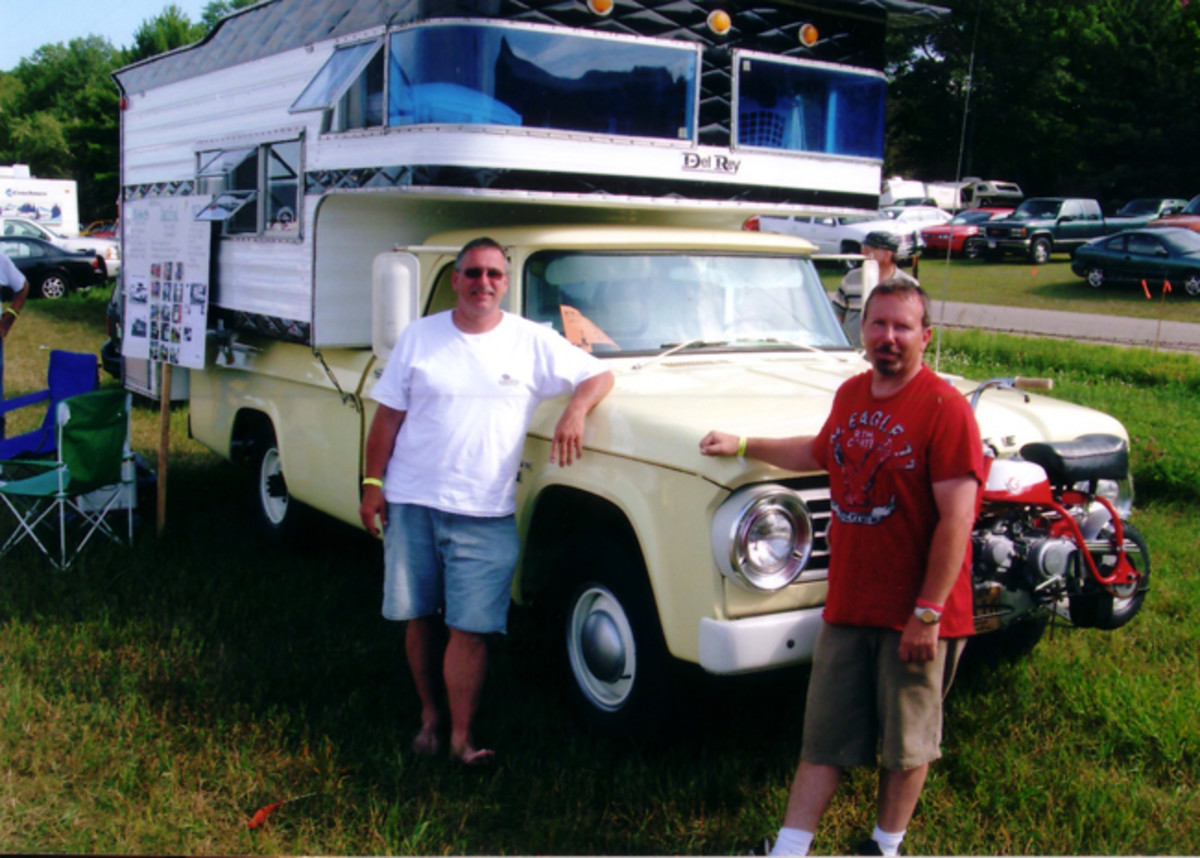 Driving to Iola 2008 in this 1966 Dodge Camper Special was like a trip back to the past for Dan McQuaid (right) and his co-pilot.