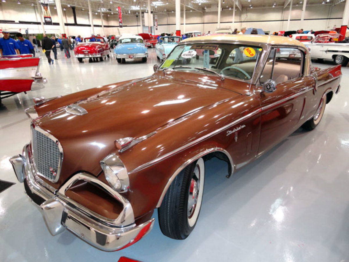 A 1956 Studebaker Hawk with a Packard V8 hammered for $17,500.