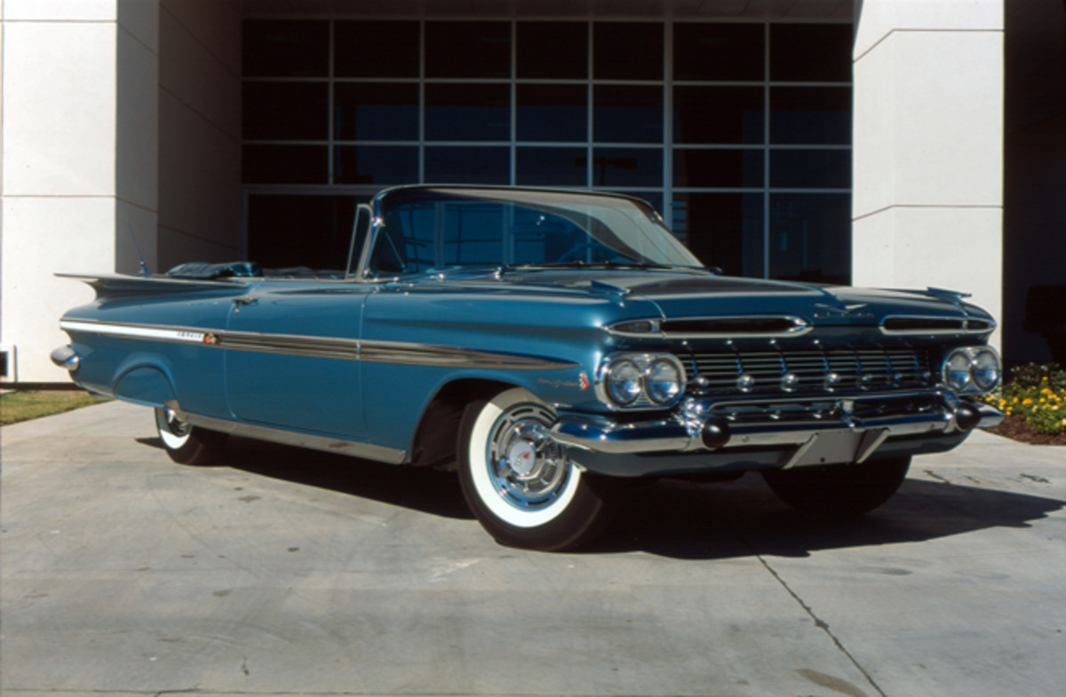 The 1959 Impala was redesigned due to a corporate decision to share bodies among the five auto divisions. Engine selections were basically carried forward from the previous model year including the fuel-injected 283. This convertible is powered by the rarely ordered engine.