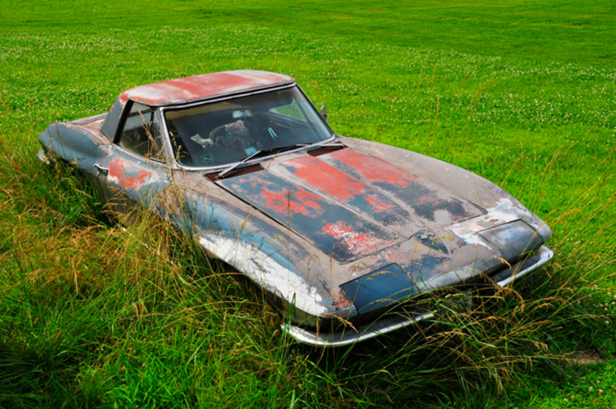This 1967 Corvette looks lost and forgotten, but it will soon be getting a complete restoration after sitting for many years in a farm yard at an undisclosed location.