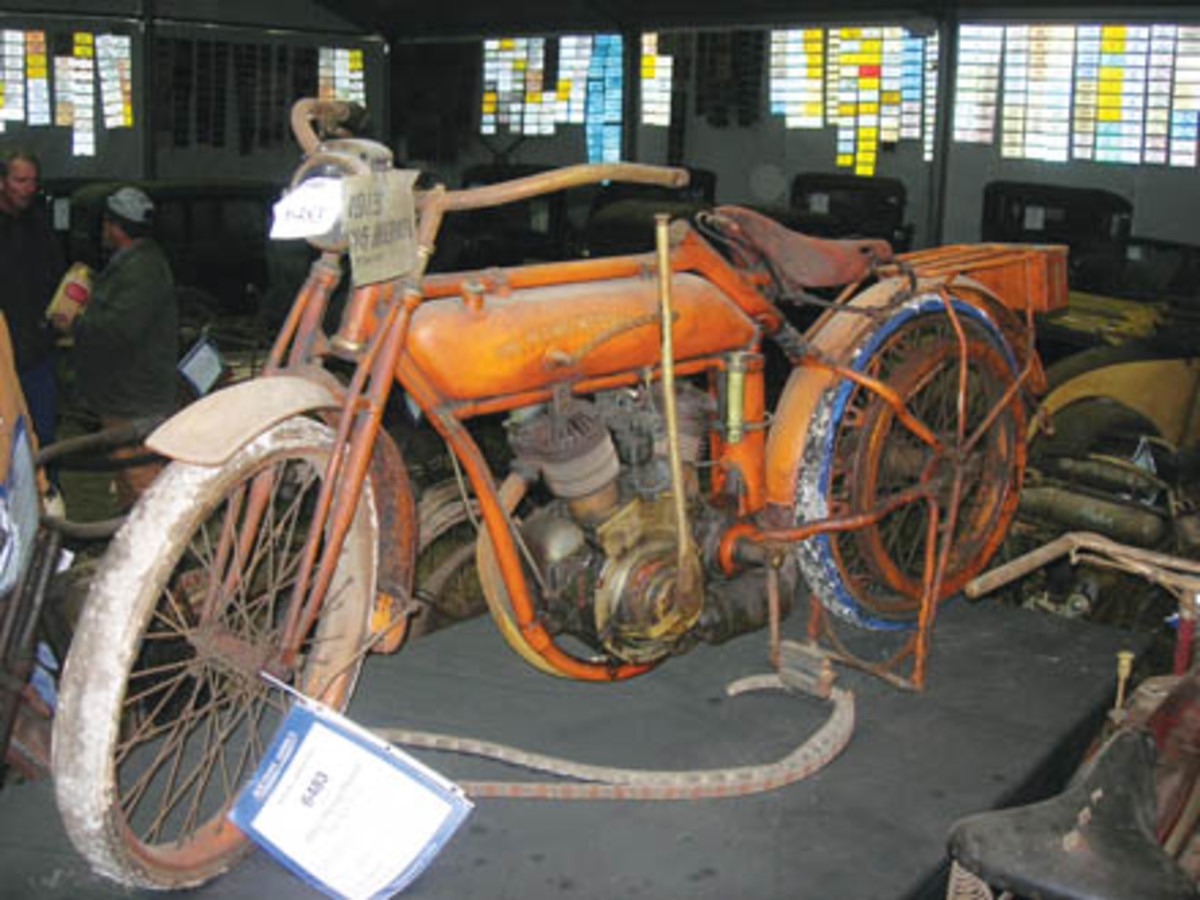 One of the featured items in the Hartung Collection was this original-condition 1911 Flying Merkel twin belt-drive motorcycle. It sold for $175,000.