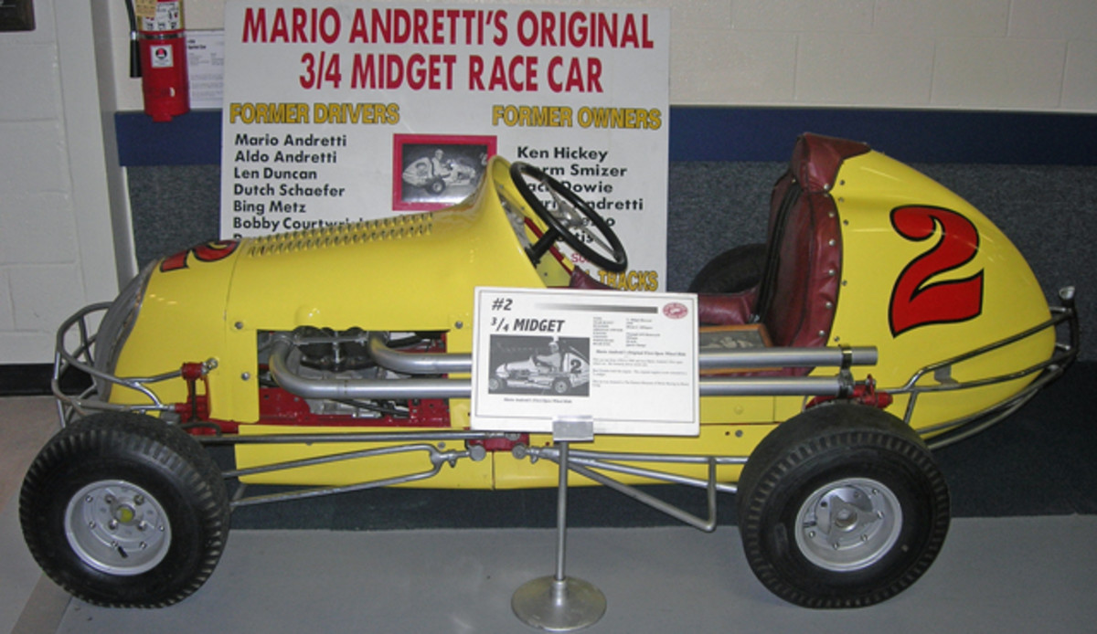 Pennsylvania native Mario Andretti began his illustrious racing career piloting this #2 three-quarter midget in 1950. The list of drivers who also competed in the car includes Andretti's brother, Aldo.