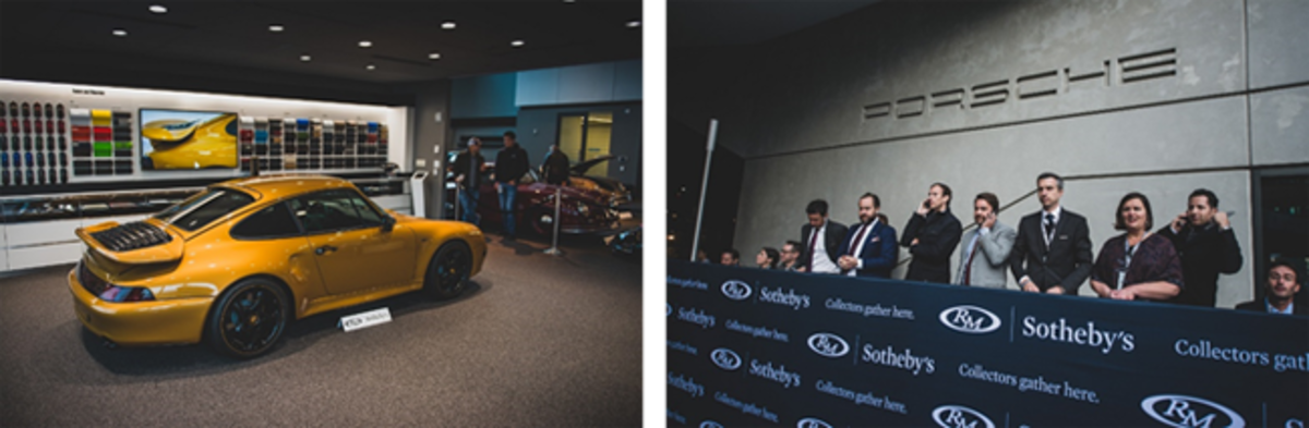 LEFT: Project Gold on display during preview for RM Sotheby's Porsche 70th Anniversary Auction RIGHT: Strong interest from bidders on the phone for Project Gold at RM Sotheby's Porsche sale. The car eventually sold to a bidder in the room.