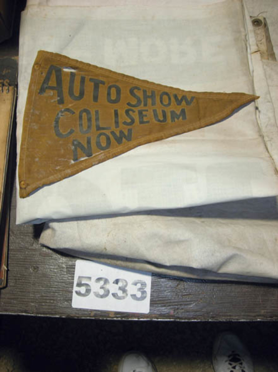 This unique early auto show banner was part of a mixed lot that also consisted of Coca-Cola memorabilia, petroliana and old auto parts brochures. The lot sold for $500.