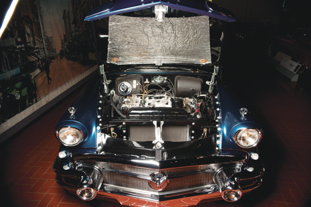 Mitchell preferred four single side-draft carburetor setups on his car, and Mayton was told by GM employees that this car almost certainly had such a setup when it was built. This intake had to be made using the Buick Wildcat II concept car intake as a pattern. Many under-hood components were relocated by GM to accommodate the set up.