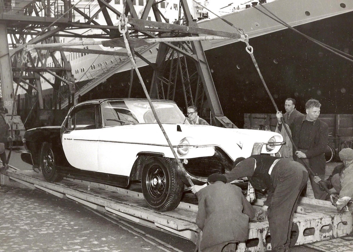 The 1956 Cadillac Die Valkyrie being loaded for its trans-Atlantic trip.